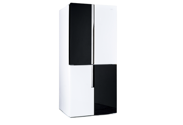 New - Chiq 463L French Door White Black Glass CFD463WBG 1 | Fridge Factory