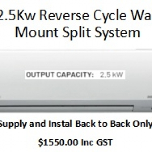Reverse Cycle Wall Mount Split System 2.5Kw