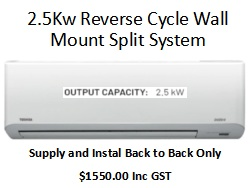 Reverse Cycle Wall Mount Split System 2.5Kw 1 | Fridge Factory