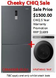Cheeky CHIQ Sale: Fridge + Front Loader Washing Machine 1 | Fridge Factory